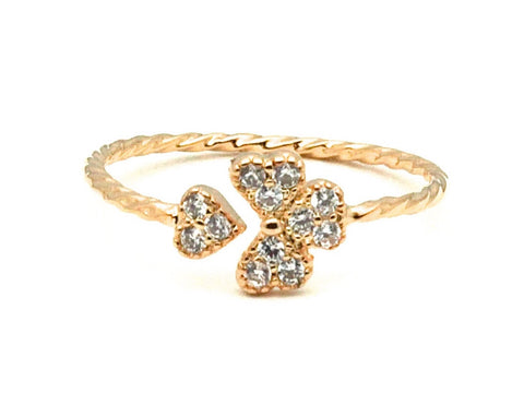Love heart diamond zirconia open ring - Yellow gold plated