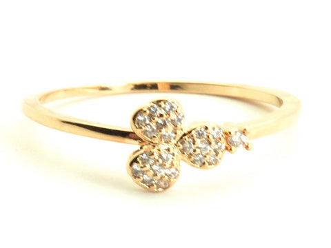 Three petals diamond zirconia yellow gold plated - open ring