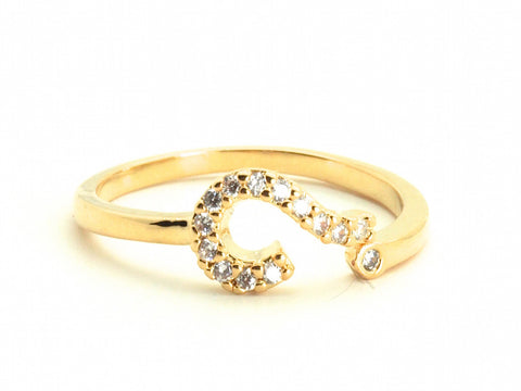 Question mark diamond zirconia open ring - yellow gold plated