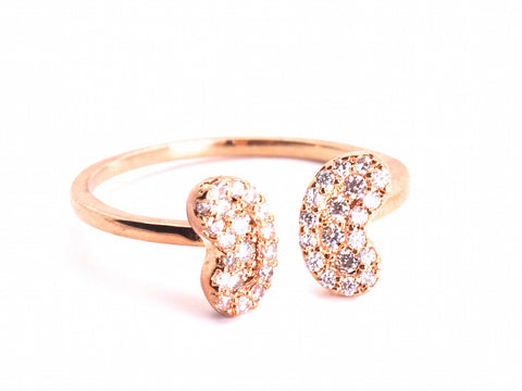 Peasly Diamond zirconia open ring - pink gold plated