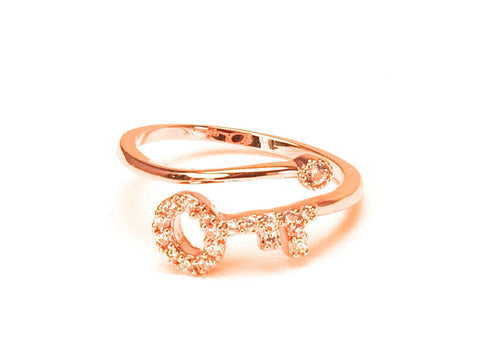 Key diamond zirconia open ring - Pink gold plated