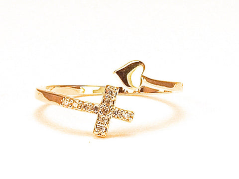 SOLD OUT Little cross diamond zirconia open ring - yellow gold plated