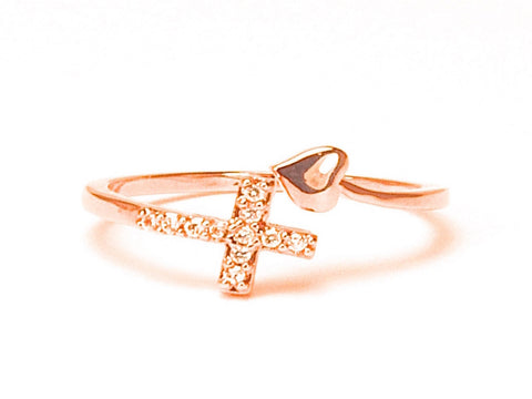 Tini heart with cross diamond zirconia pink gold-plated - open ring