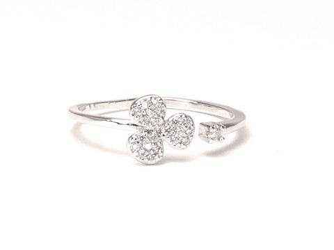 Marguerita diamond zirconia knuckle open ring - Sterling silver