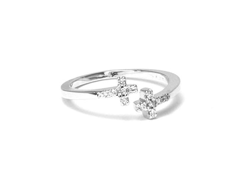 Christina diamond zirconia cross knuckle open ring - Sterling silver