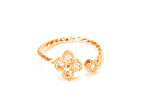 Flower tiny knuckle open ring - yellow gold plated
