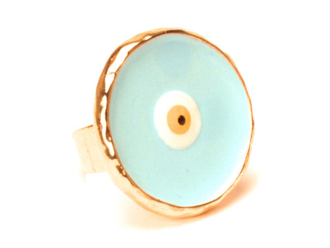 SOLD OUT Eilat blue eye ring - Yellow gold plated