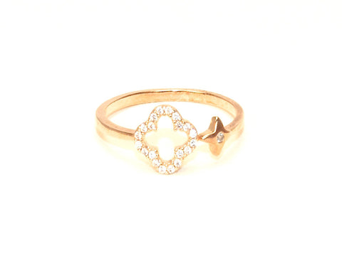 Open cross diamond zirconia open ring - Yellow gold plated