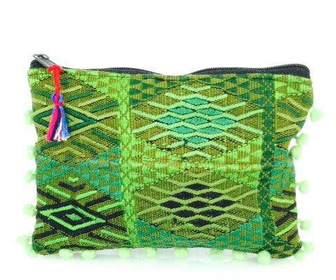 Veracruz vintage jacquard fabric - One of the kind pouch with pom - poms by Myriam Calhoun