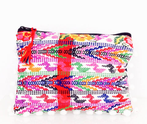 SOLD OUT Cancun vintage jacquard fabric - One of the kind pouch with pom - poms by Myriam Calhoun