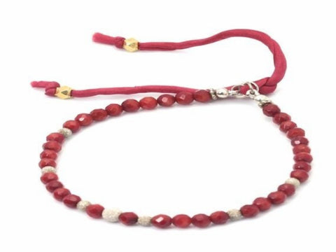 Lama faceted red agate and sterling silver stardust bracelet