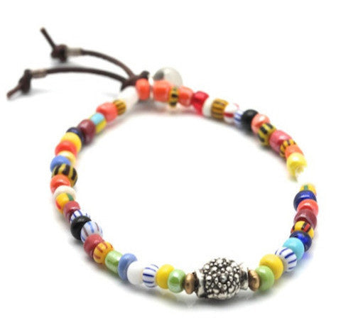 Rainbow glass african beads with marcasite center bracelet
