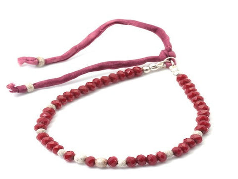 Uma ruby glass and sterling silver stardust - bracelet