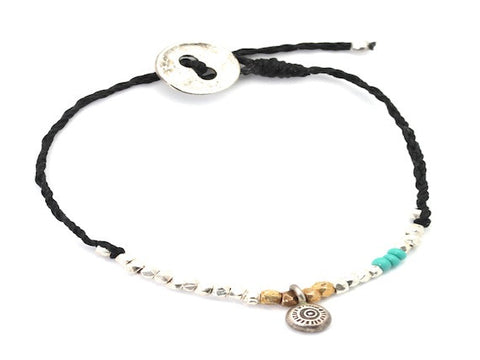 Universe charm beaded and black waxed cord - bracelet
