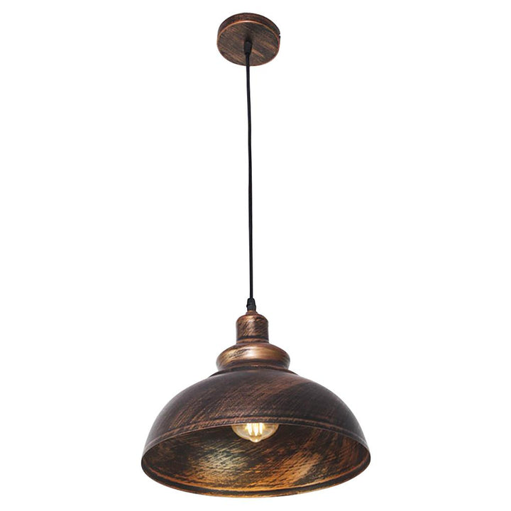 Pendant Lamp Iron Round Hanging Light Vintage Lighting with Lampshade for Living Room Bedroom