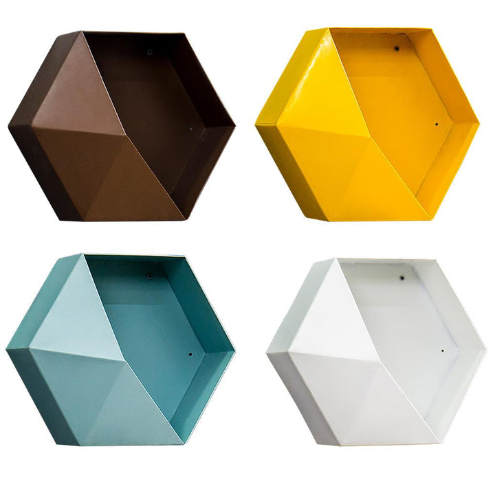 Geometric Wall Rack Hanging Storage Shelf Hexagon Decorative Display Flower Stand for Bedroom Living Room Office