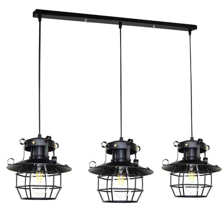 Pendant Lamp Iron Small Cage Hanging Light with Hollow Lampshade for Living Room Bedroom C