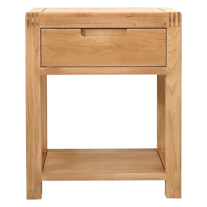 Bedside Table Solid Wood Nightstand Storage Organizer Cabinet with Drawer for Bedroom Living Room