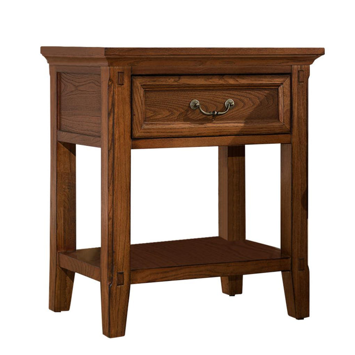 Bedside Table Solid Wood Storage Cabinet Nightstand with Drawer for Bedroom Living Room Office