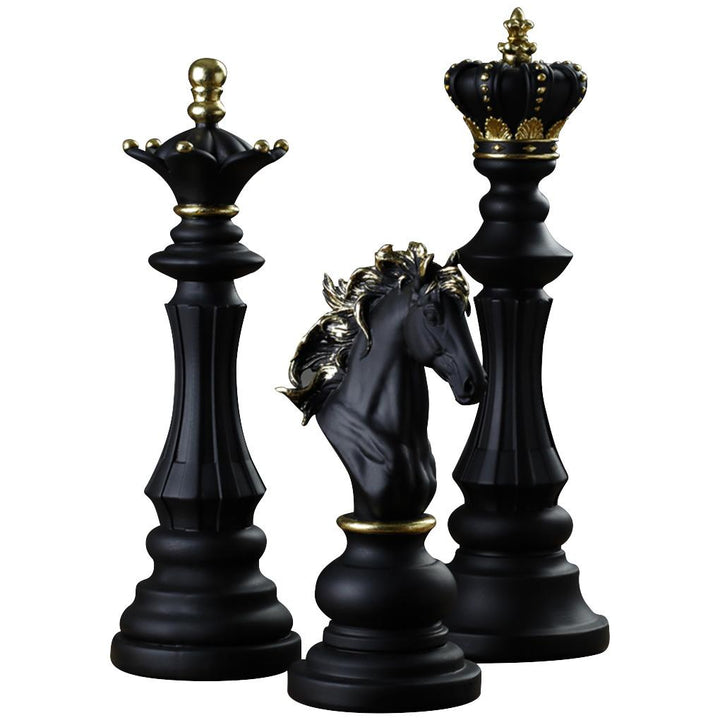 3Pcs Resin Chess Ornaments Rustic Home Decorations Figurines Statues Craft for TV Wine Cabinet Office