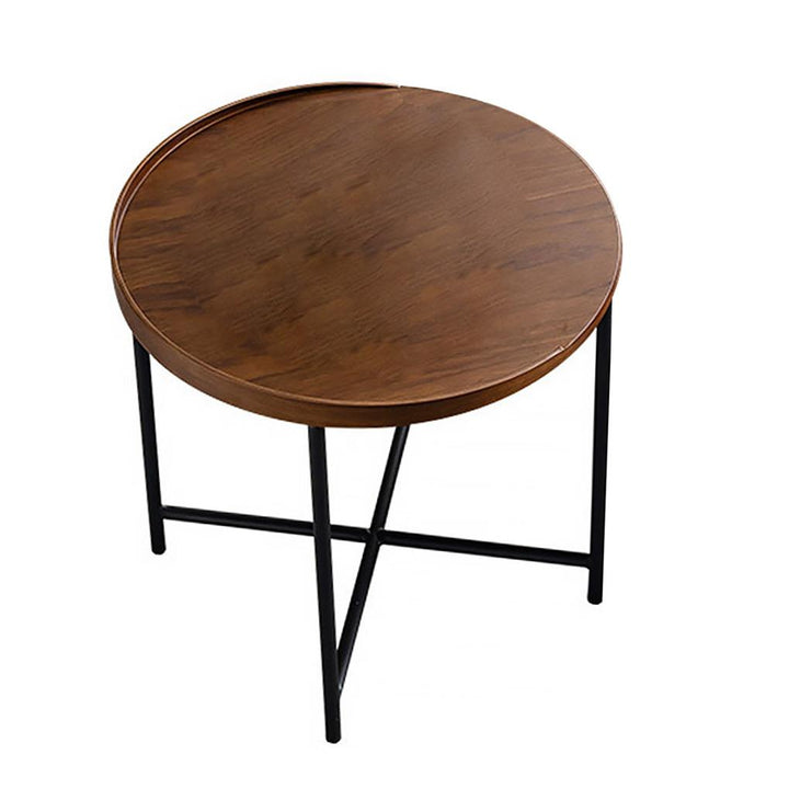 Solid Wood Round Iron Brown Side tables & End tables Coffee Table for Bedroom,Living room