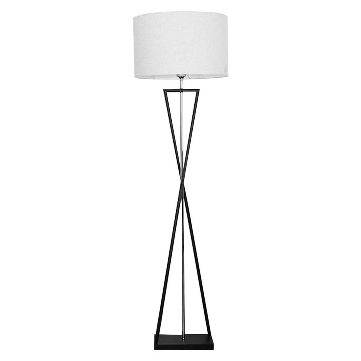Floor Lamp X-shaped Iron Standing Light Lighting with Linen Lampshade for Bedroom Living Room