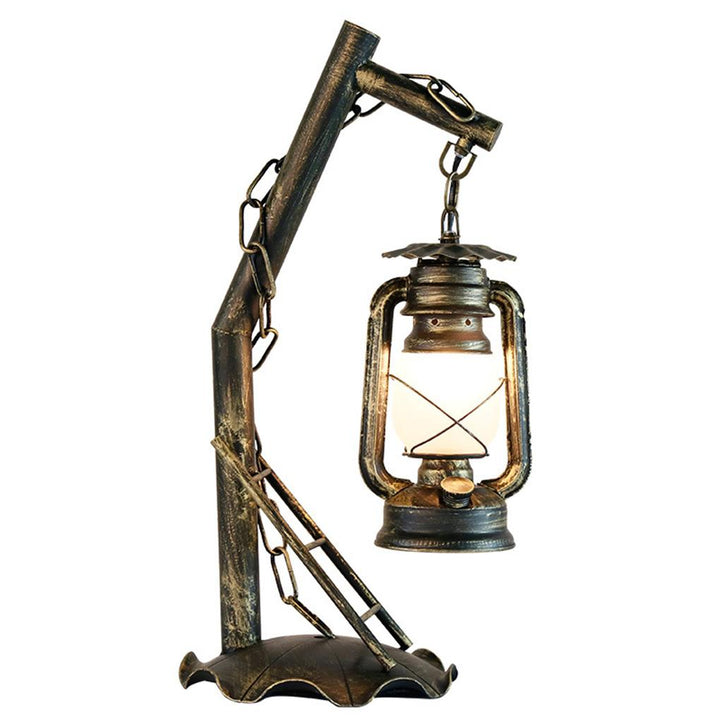 Table Lamp Rustic Iron Lantern Bedside Light Lighting with Clear Lampshade for Bedroom Study Room
