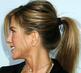 jennifer aniston in black ribbon like hair ties