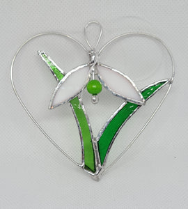 Stained Glass Snowdrop in Heart