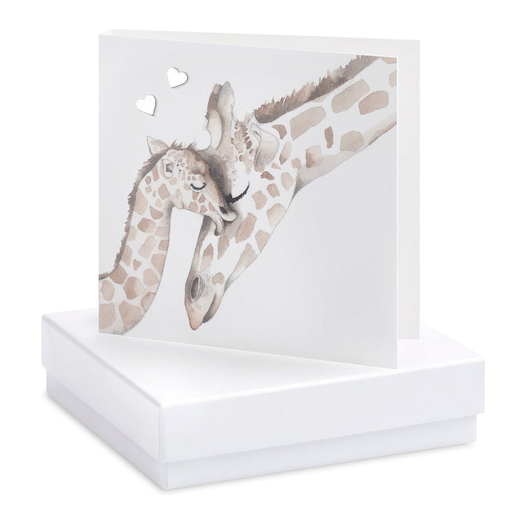 Boxed Earrings Giraffe Card