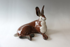 Hand Built Raku fired, Large  Brown Lying Down Hare 52cm x44cm