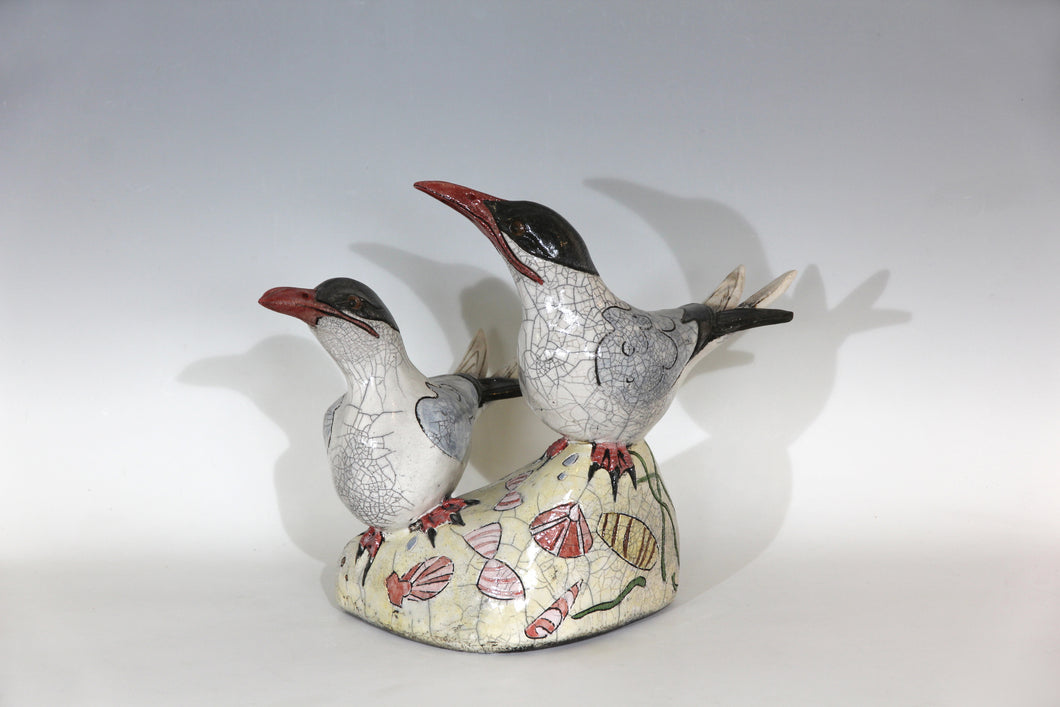 Hand built , Raku fired Common Terns, on sand and pebble beach.36 cm x 47cm
