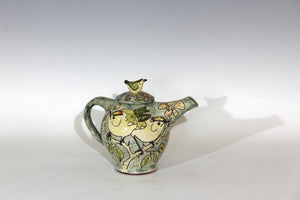 Scraffito Decorated earthenware Goldcrests teapot  20cm x 23 cm