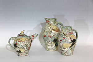 Scraffito decorated Earthenware, Redwing and Fieldfare teapot 23cm x25cm