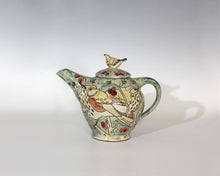 Load image into Gallery viewer, Scraffito decorated Earthenware, Redwing and Fieldfare teapot 23cm x25cm