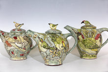 Load image into Gallery viewer, Scraffito Decorated earthenware Goldcrests teapot  20cm x 23 cm
