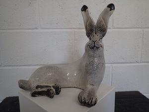 hand built Raku fired Hare