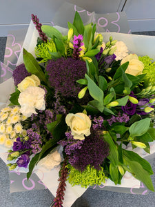 Aqua Hand Tied Bouquets - Whites and Purples