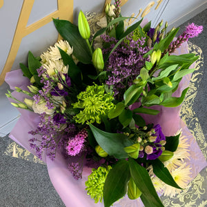 Hand Tied Bouquets - Whites and Purples