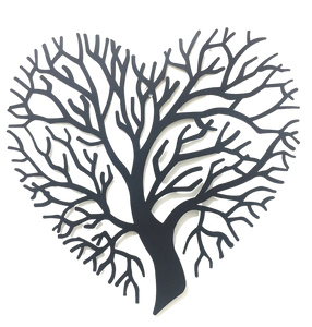 Tree of Heart - Black Metal Wall Hanging