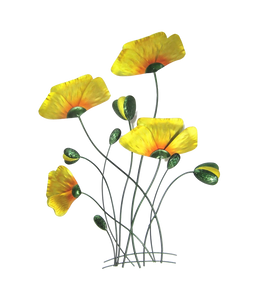 Poppies - Yellow Welsh Poppies - Metal Wall Hanging
