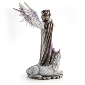 Large Angel in Purple Gown with Wolf Companion