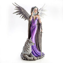 Load image into Gallery viewer, Large Angel in Purple Gown with Wolf Companion