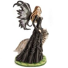 Load image into Gallery viewer, Large Black Fairy Princess with White Wolf