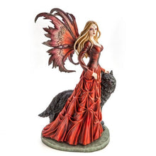 Load image into Gallery viewer, Large Red Fairy Princess with Black Wolf