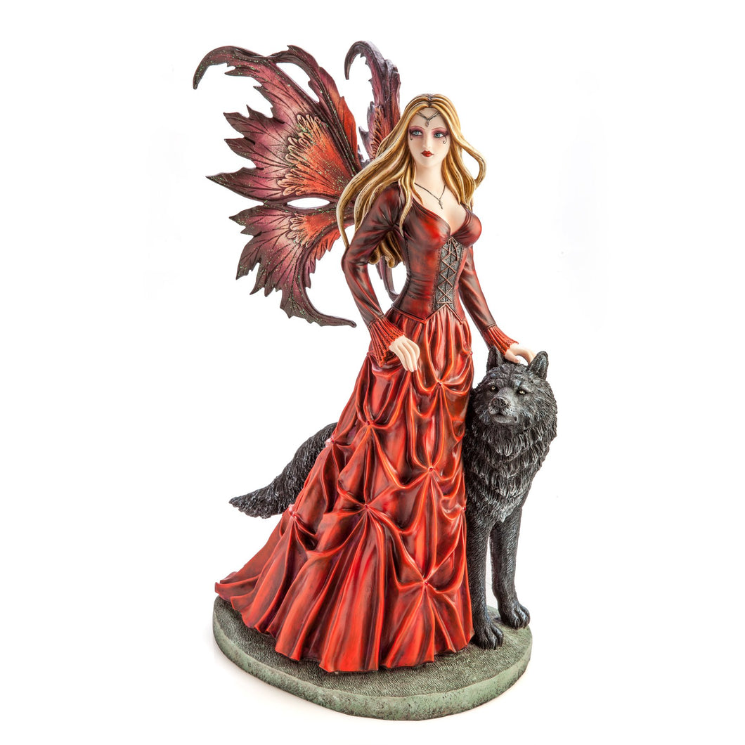 Large Red Fairy Princess with Black Wolf