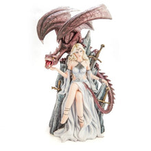 Load image into Gallery viewer, White Queen on Throne with Dragon Figurine