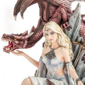White Queen on Throne with Dragon Figurine