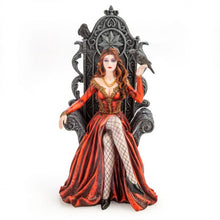 Load image into Gallery viewer, Red Queen on Throne with Raven Figurine