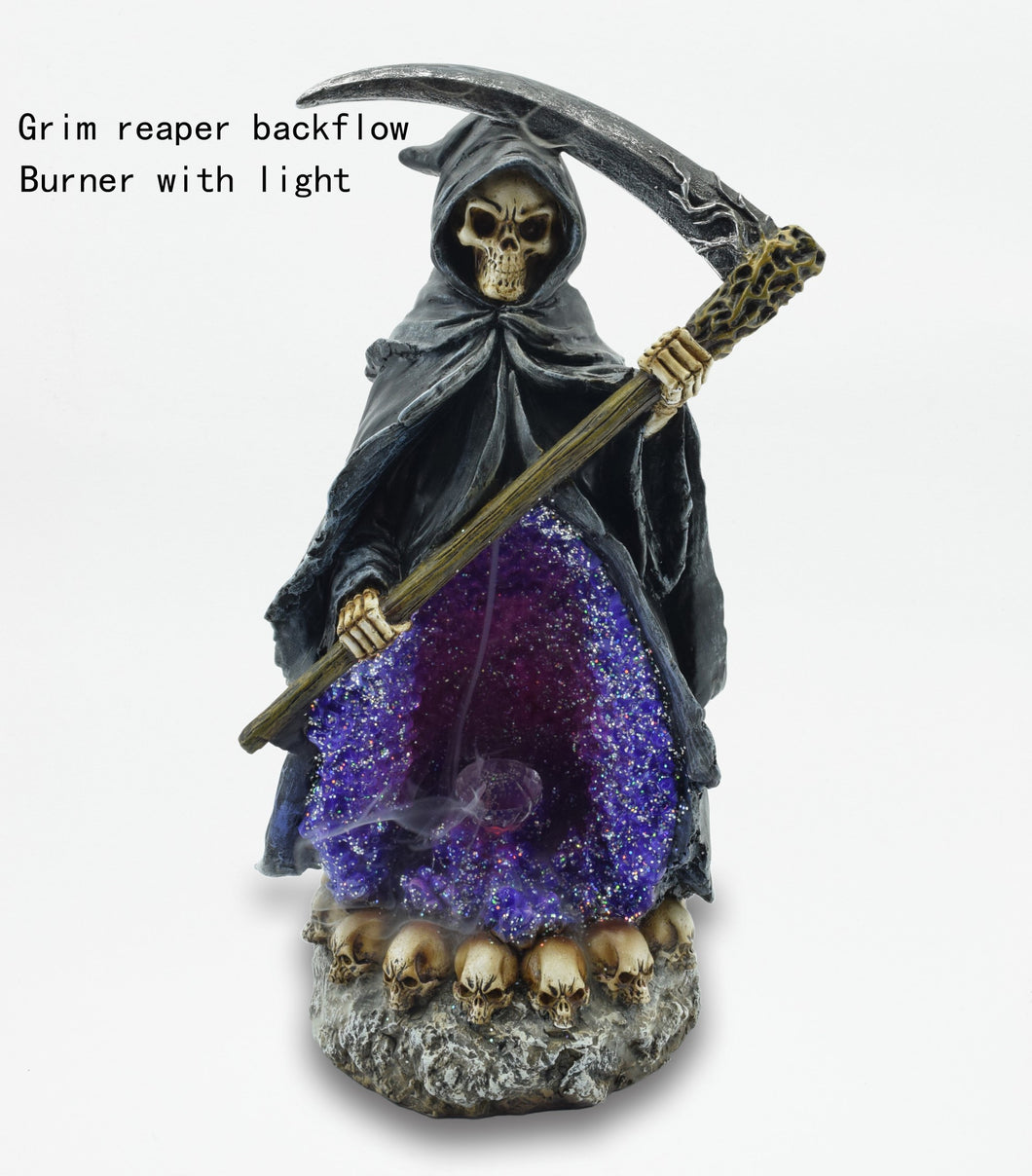 GRIM REAPER PURPLE CRYSTAL BACK FLOW BURNER W/LED